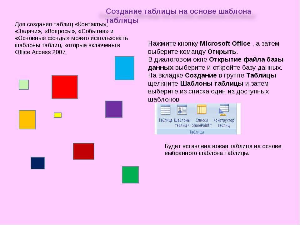 Для создания таблиц «Контакты», «Задачи», «Вопросы», «События» и «Основные фо...