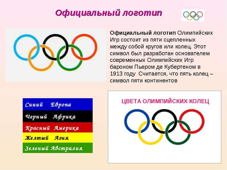 Официальный логотип Олимпийских Игр состоит из пяти сцепленных между собой кр...