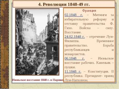 4. Революции 1848-49 гг. Франция 02.1848 г. – Митинги за избирательную реформ...