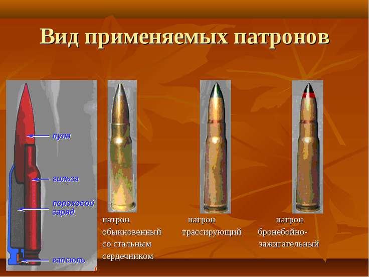 Вид применяемых патронов патрон патрон патрон обыкновенный трассирующий броне...