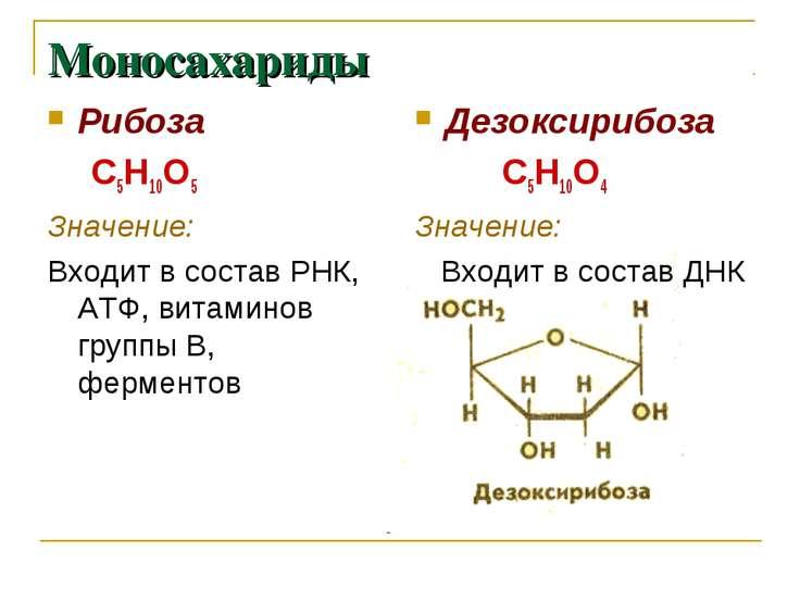 Моносахариды Рибоза С5Н10О5 Значение: Входит в состав РНК, АТФ, витаминов гру...