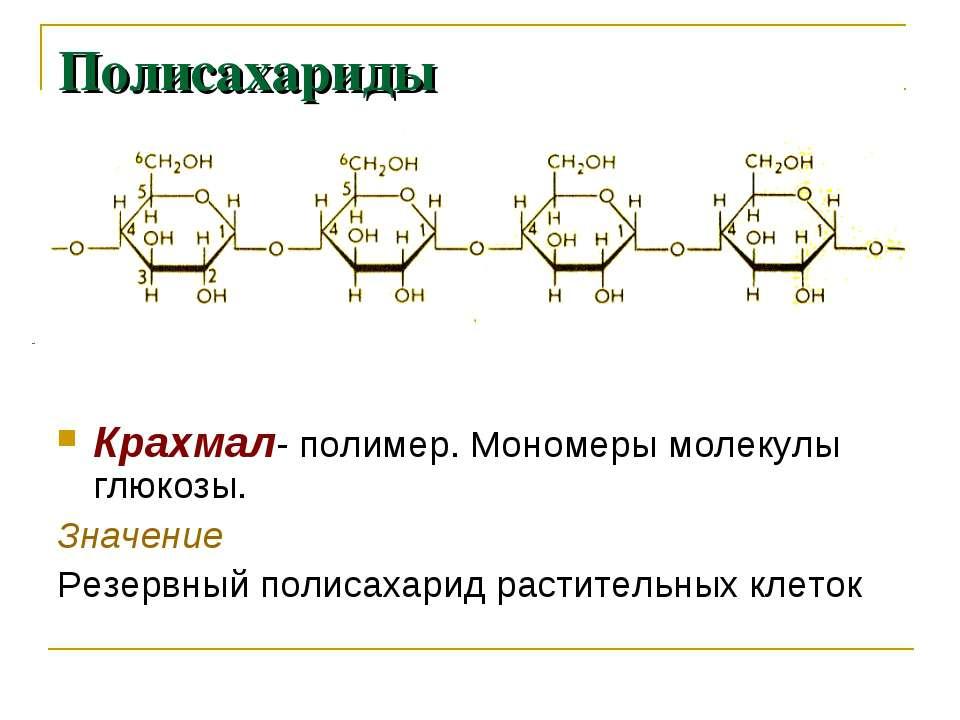 Полисахариды Крахмал- полимер. Мономеры молекулы глюкозы. Значение Резервный ...