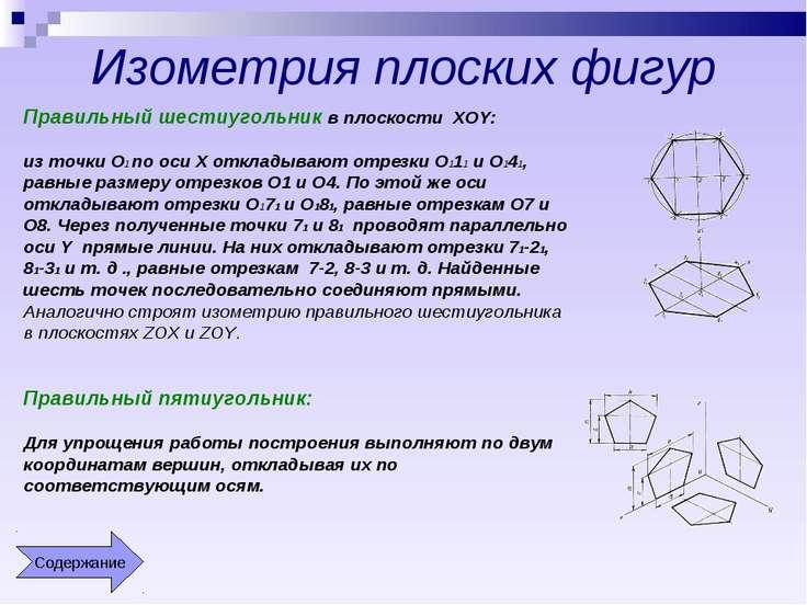 Изометрия плоских фигур Правильный шестиугольник в плоскости XOY: из точки О1...