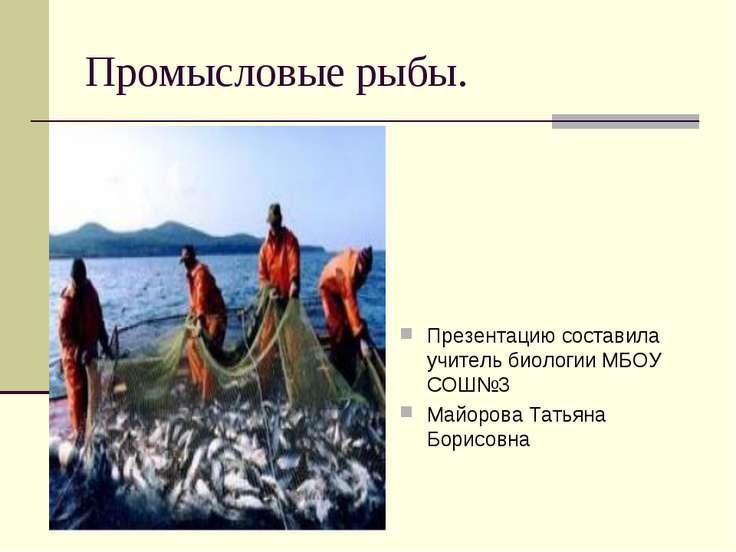 Промысловые рыбы. Презентацию составила учитель биологии МБОУ СОШ№3 Майорова ...