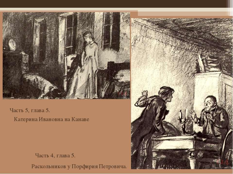 Часть 4, глава 5.  Часть 5, глава 5. Катерина Ивановна на Канаве Раскольнико...