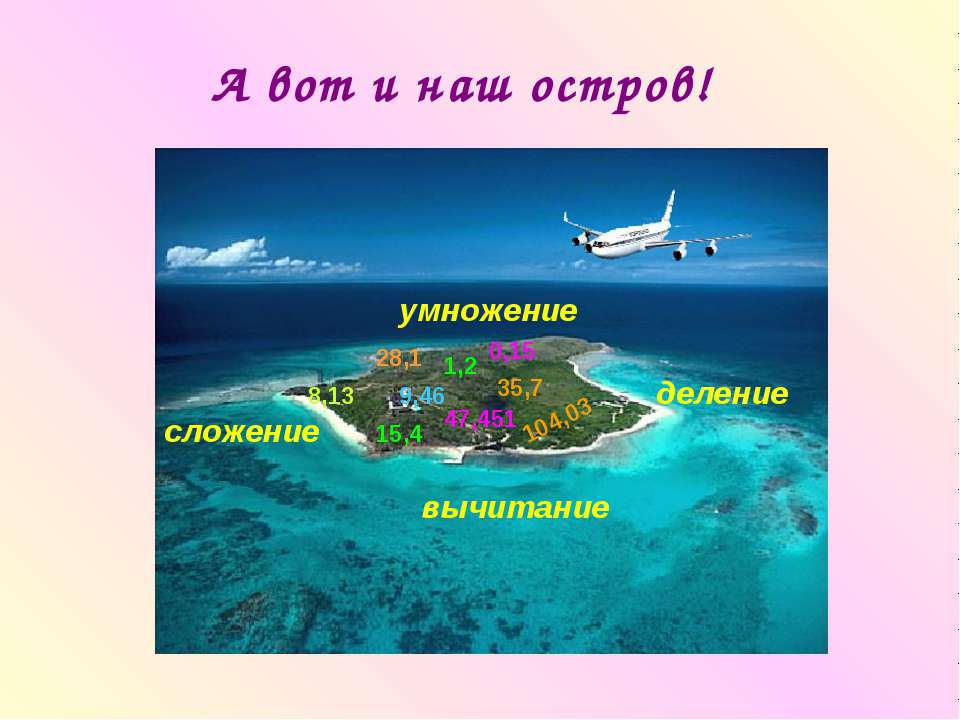 А вот и наш остров! 0,15 1,2 8,13 15,4 9,46 28,1 35,7 47,451 104,03 умножение...