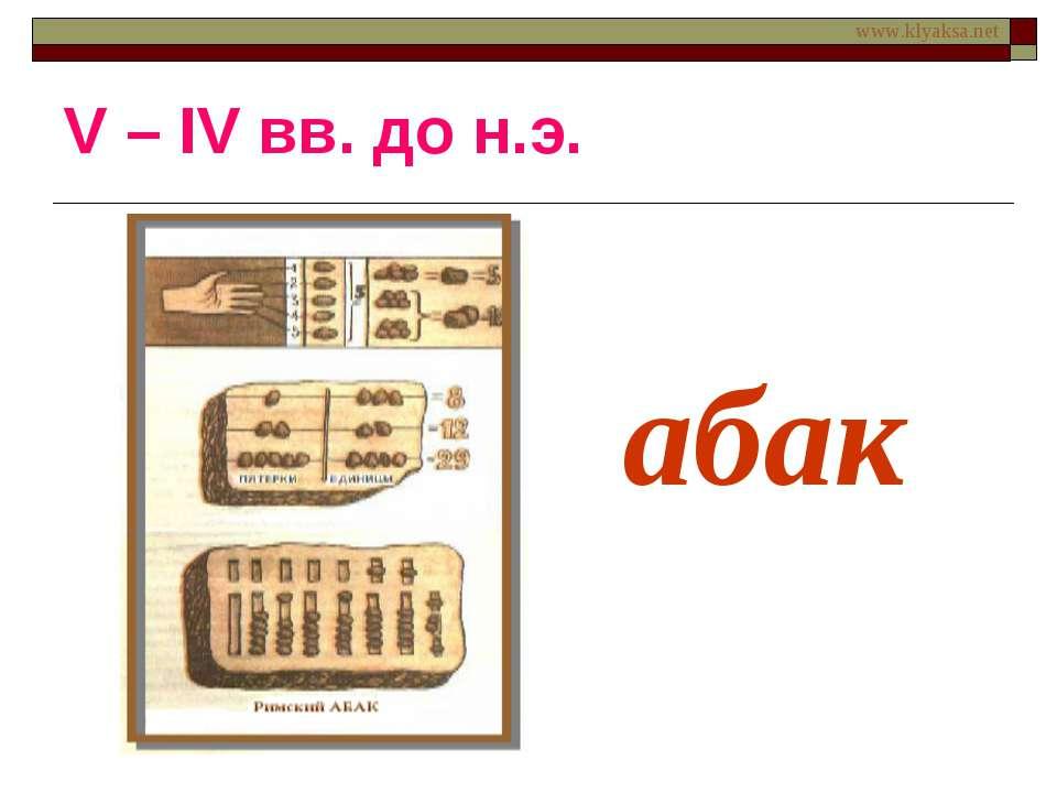 абак V – IV вв. до н.э. www.klyaksa.net