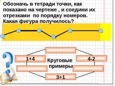 Обозначь в тетради точки, как показано на чертеже , и соедини их отрезками по...