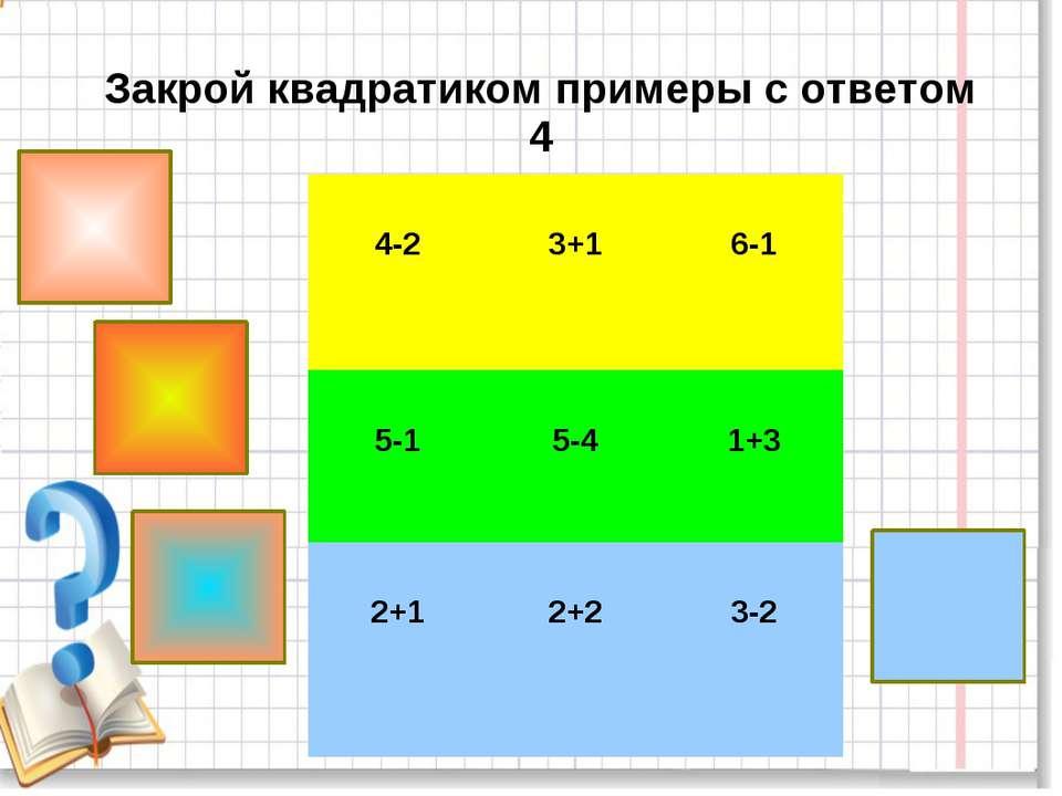 Закрой квадратиком примеры с ответом 4 4-2 3+1 6-1 5-1 5-4 1+3 2+1 2+2 3-2
