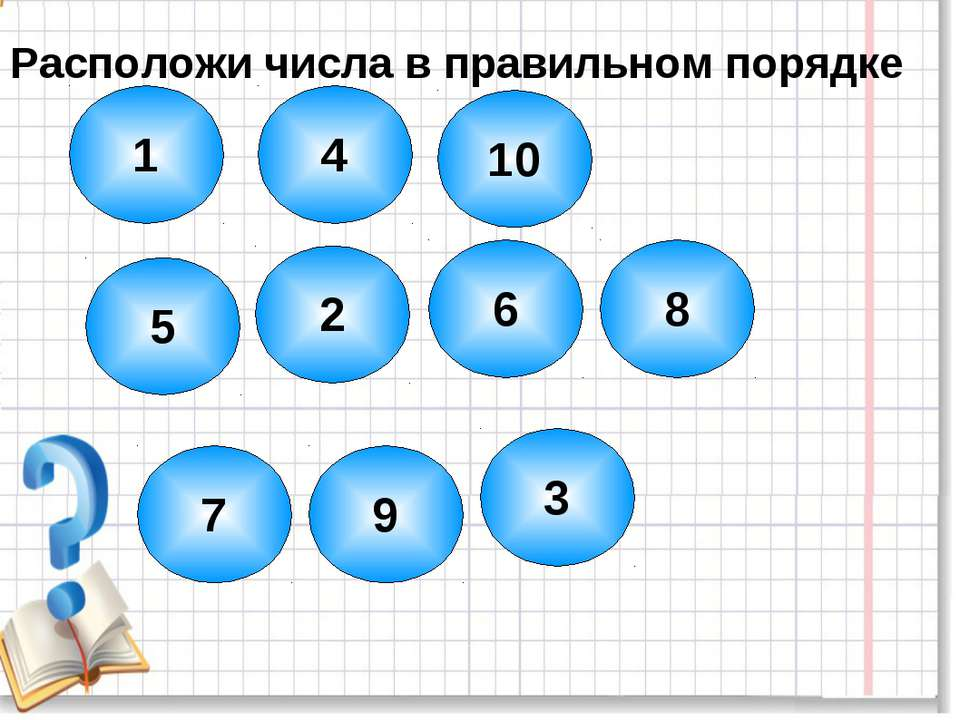 1 5 4 10 2 6 8 7 9 3 Расположи числа в правильном порядке
