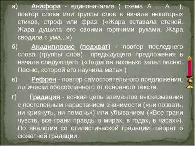 а) Анафора - единоначалие ( схема А ... А ...), повтор слова или группы слов ...