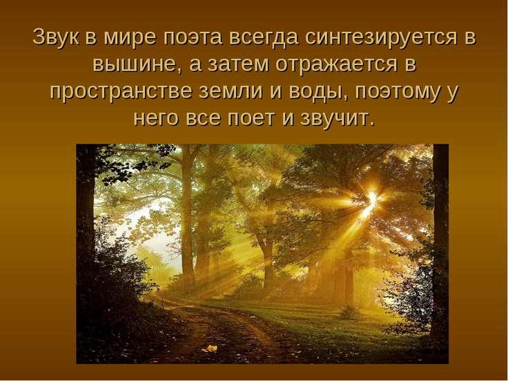 Звук в мире поэта всегда синтезируется в вышине, а затем отражается в простра...
