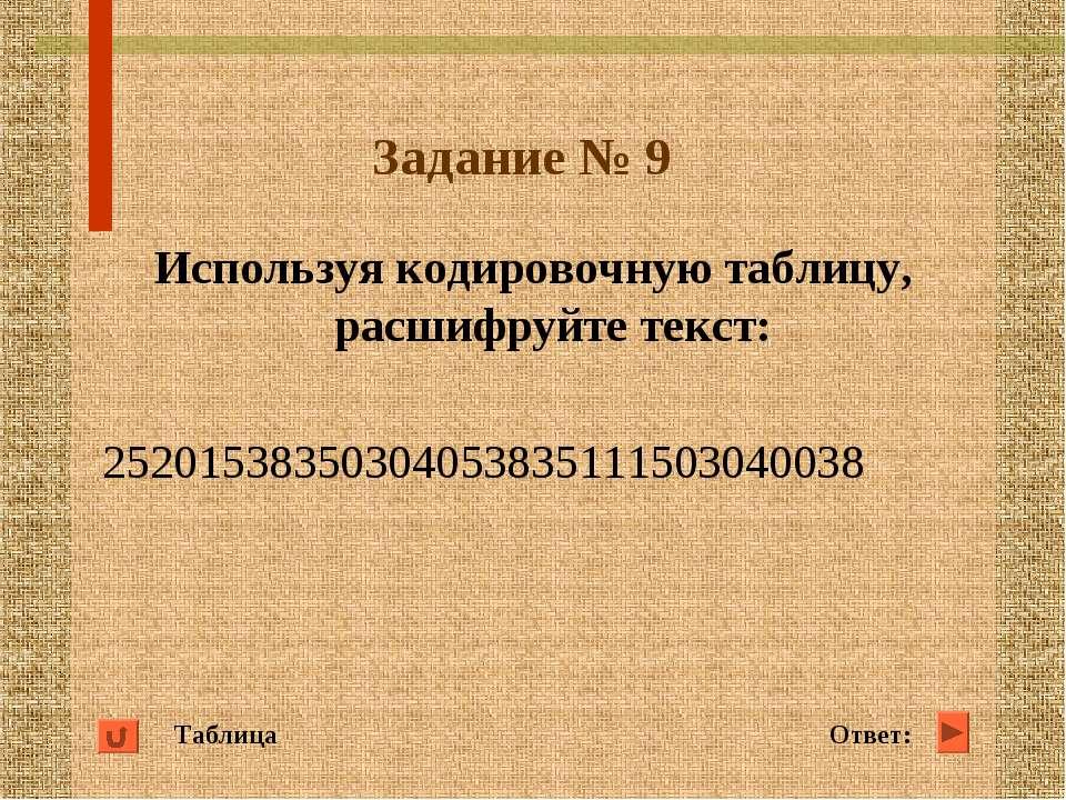 Задание № 9 Используя кодировочную таблицу, расшифруйте текст: 25201538350304...