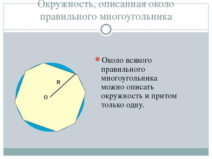 Окружность, описанная около правильного многоугольника Около всякого правильн...
