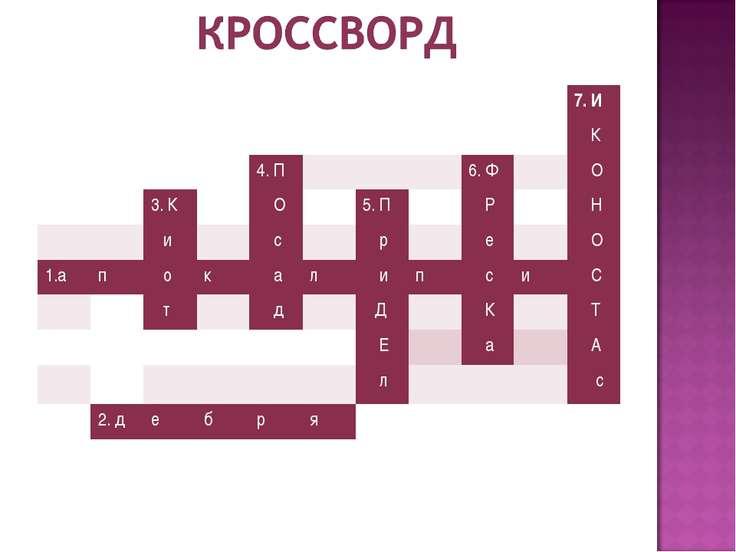 7. И К 4. П 6. Ф О 3. К О 5. П Р Н и с р е О 1.а п о к а л и п с и С т д Д К ...