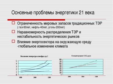 Основные проблемы энергетики 21 века Ограниченность мировых запасов традицион...