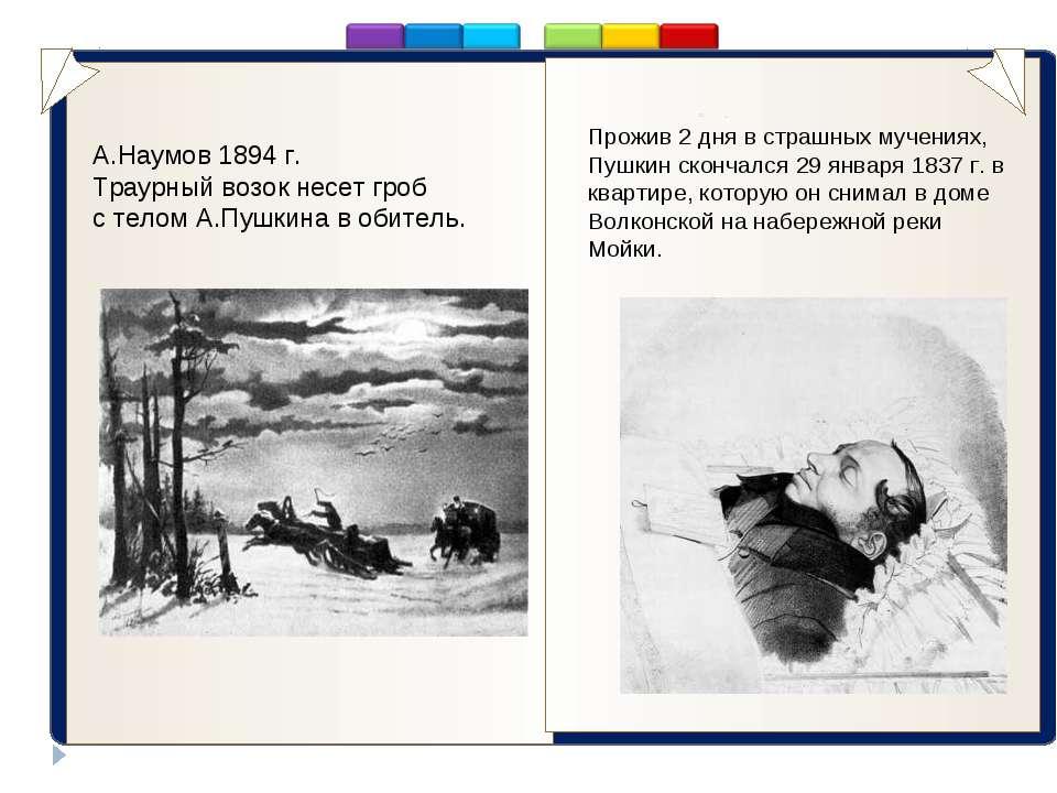 . Прожив 2 дня в страшных мучениях, Пушкин скончался 29 января 1837 г. в квар...