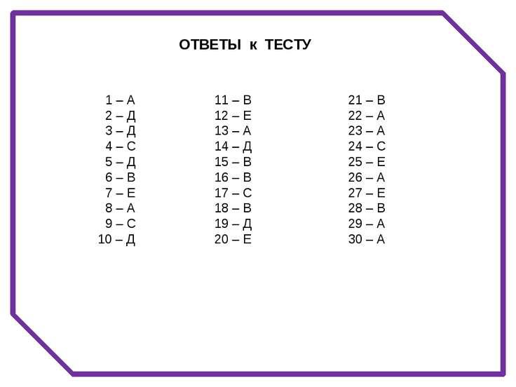 1 – А 2 – Д 3 – Д 4 – С 5 – Д 6 – В 7 – Е 8 – А 9 – С 10 – Д 21 – В 22 – А 23...