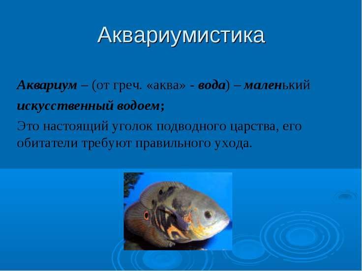 Аквариумистика Аквариум – (от греч. «аква» - вода) – маленький искусственный ...