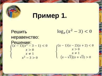 Решить неравенство: Решение: Пример 1.