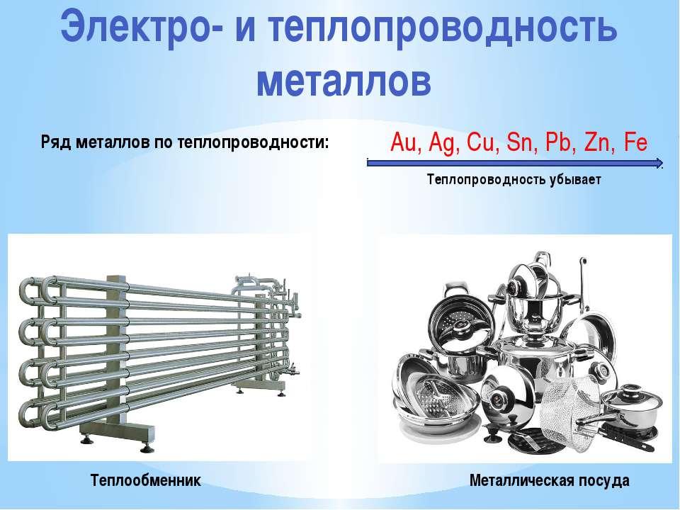 Электро- и теплопроводность металлов Теплообменник Металлическая посуда Au, A...