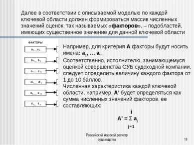 Российский морской регистр судоходства * Например, для критерия А факторы буд...