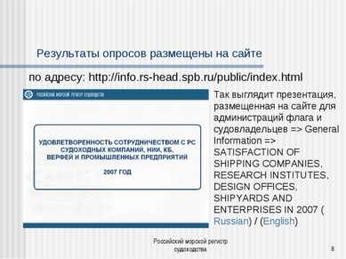 Российский морской регистр судоходства * Результаты опросов размещены на сайт...
