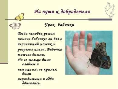 На пути к добродетели Тогда человек решил помочь бабочке: он взял перочинный ...