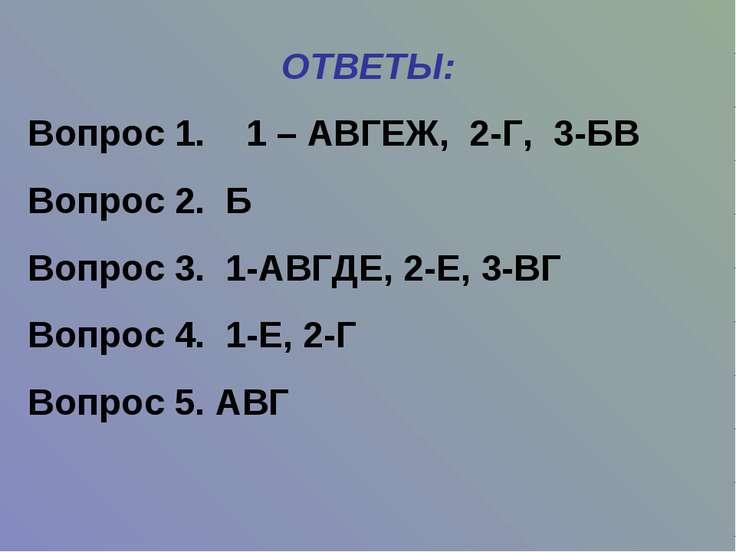 ОТВЕТЫ: Вопрос 1. 1 – АВГЕЖ, 2-Г, 3-БВ Вопрос 2. Б Вопрос 3. 1-АВГДЕ, 2-Е, 3-...