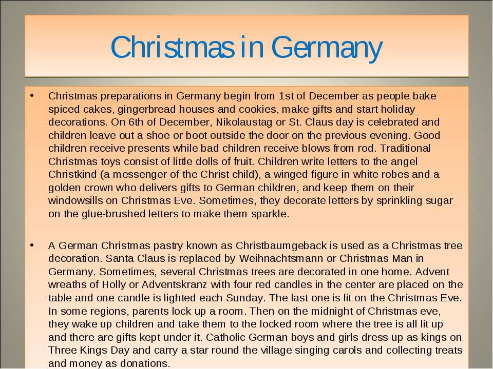 Christmas in Germany Christmas preparations in Germany begin from 1st of Dece...