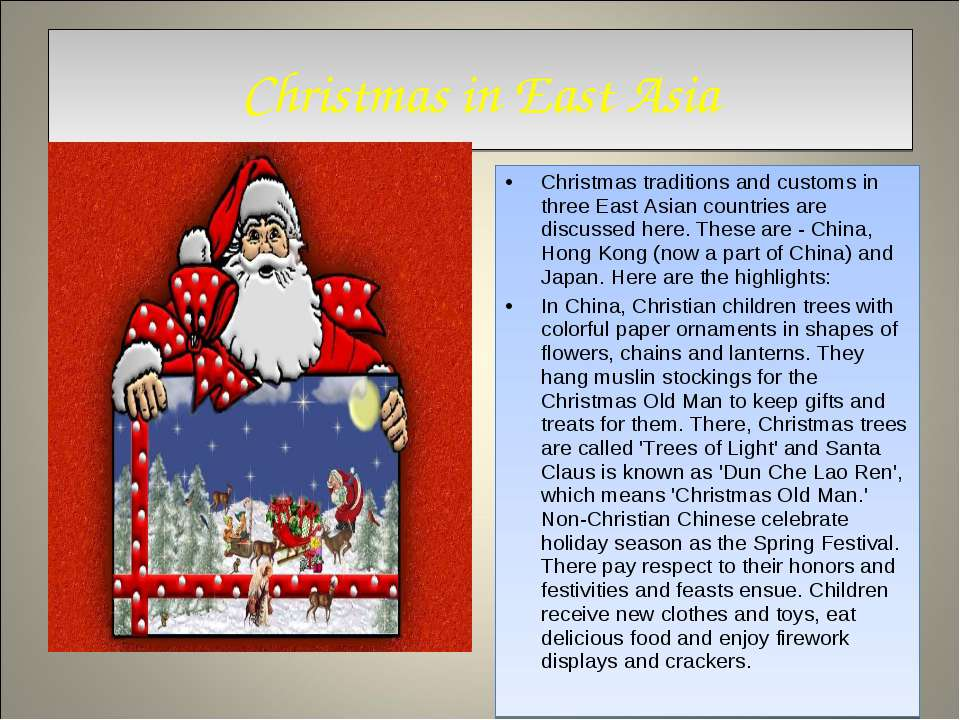Christmas in East Asia Christmas traditions and customs in three East Asian c...