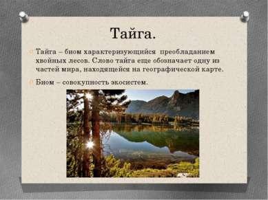 Тайга. Тайга – биом характеризующийся преобладанием хвойных лесов. Слово тайг...