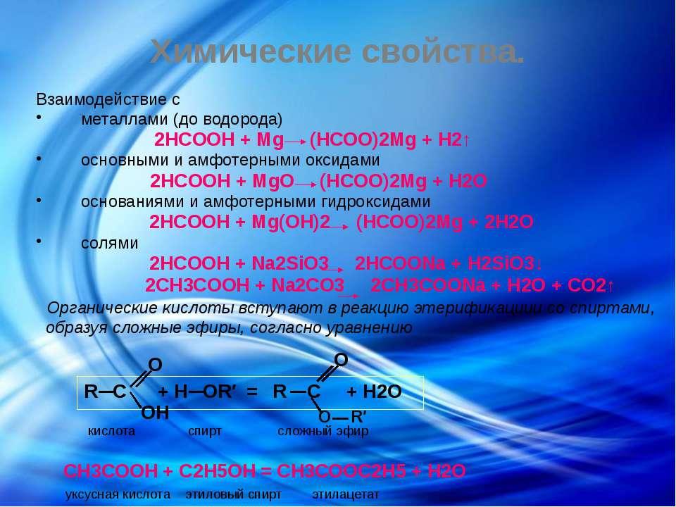 Химические свойства. Взаимодействие с металлами (до водорода) 2HCOOH + Mg (HC...