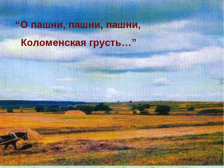 """""""О пашни, пашни, пашни, Коломенская грусть…"""""""