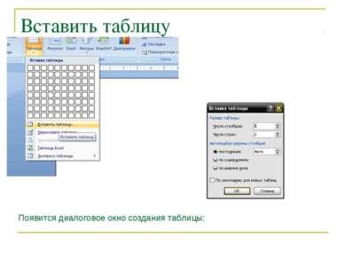 Вставить таблицу Появится диалоговое окно создания таблицы: