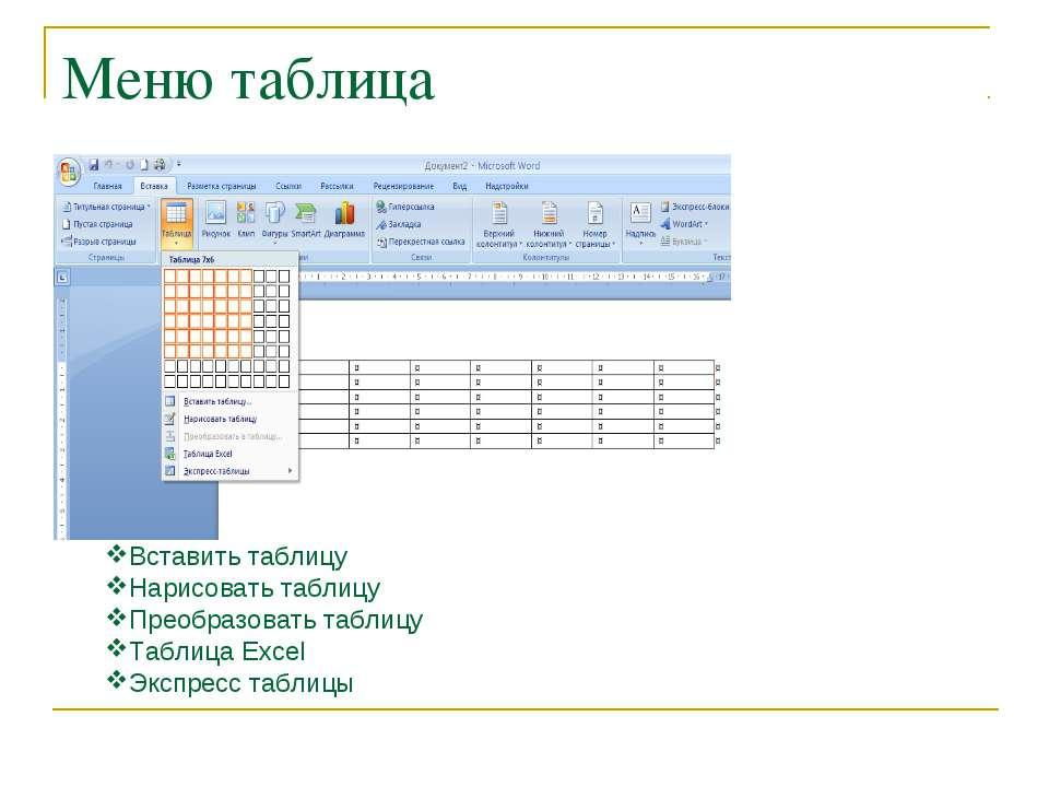 Меню таблица Вставить таблицу Нарисовать таблицу Преобразовать таблицу Таблиц...