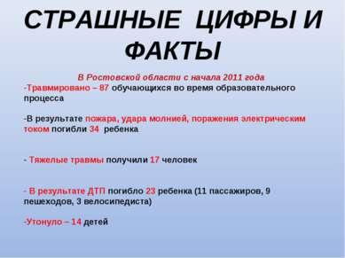 СТРАШНЫЕ ЦИФРЫ И ФАКТЫ В Ростовской области с начала 2011 года Травмировано –...
