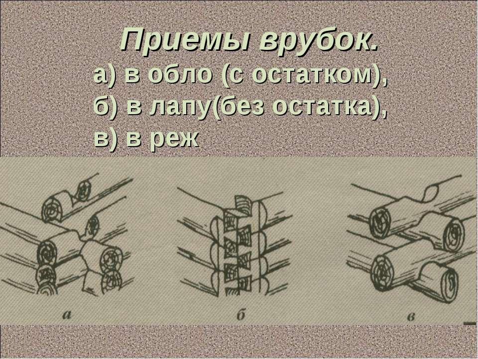 Приемы врубок. а) в обло (с остатком), б) в лапу(без остатка), в) в реж