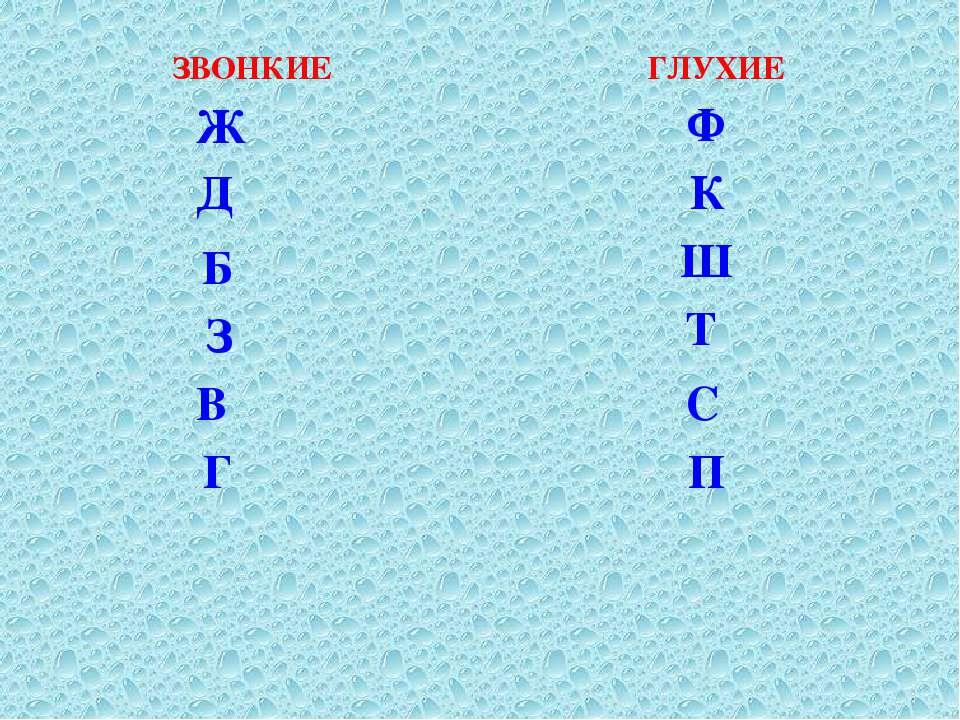Б В Д Ж З Г С К Ш Т Ф П ЗВОНКИЕ ГЛУХИЕ