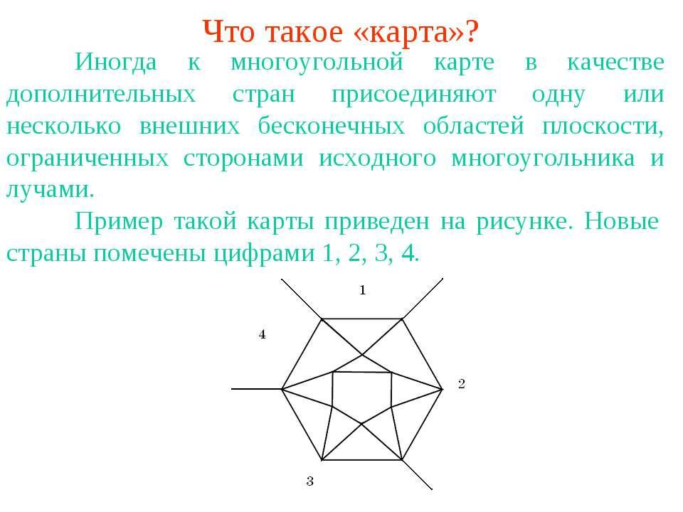 Что такое «карта»? Иногда к многоугольной карте в качестве дополнительных стр...