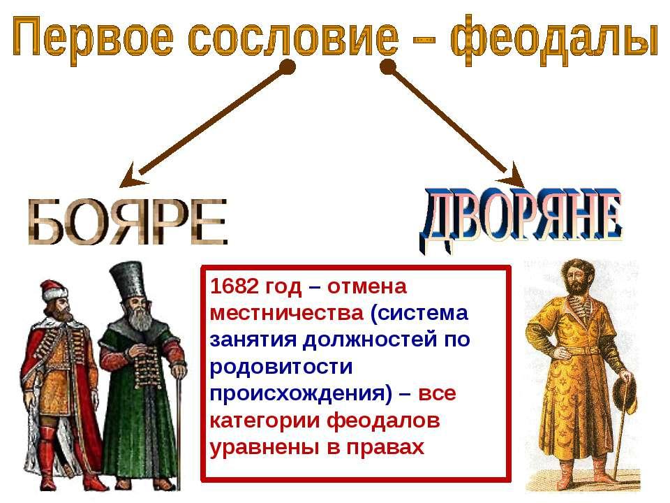1682 год – отмена местничества (система занятия должностей по родовитости про...