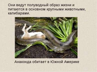 Они ведут полуводный образ жизни и питаются в основном крупными животными, ка...