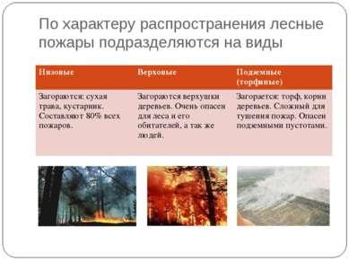 По характеру распространения лесные пожары подразделяются на виды Низовые Вер...