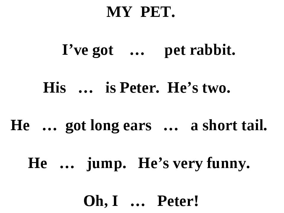 MY PET. I've got … pet rabbit. His … is Peter. He's two. He … got long ears …...