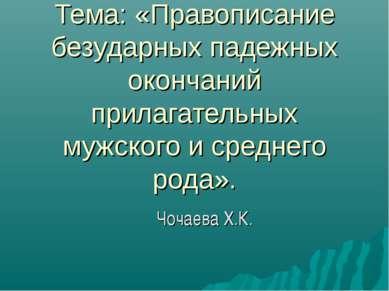 Тема: «Правописание безударных падежных окончаний прилагательных мужского и с...