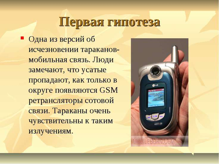 Первая гипотеза Одна из версий об исчезновении тараканов- мобильная связь. Лю...