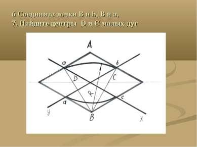 6 Соедините точки B и b, В и а, 7. Найдите центры D и С малых дуг