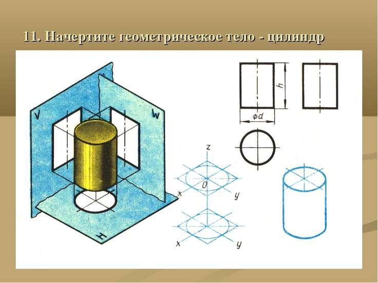 11. Начертите геометрическое тело - цилиндр