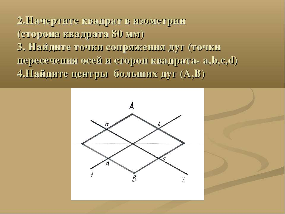 2.Начертите квадрат в изометрии (сторона квадрата 80 мм) 3. Найдите точки соп...