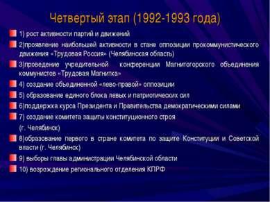 Четвертый этап (1992-1993 года) 1) рост активности партий и движений 2)проявл...